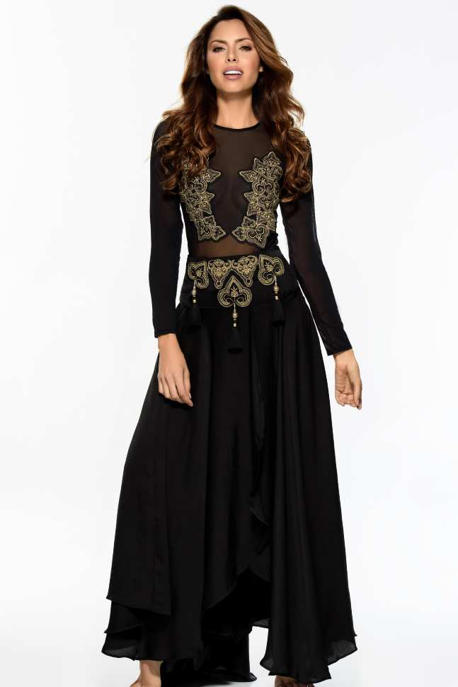7cff8decb5111 Пляжная юбка длинная черная с золотой вышивкой Cosita Linda Agra 19