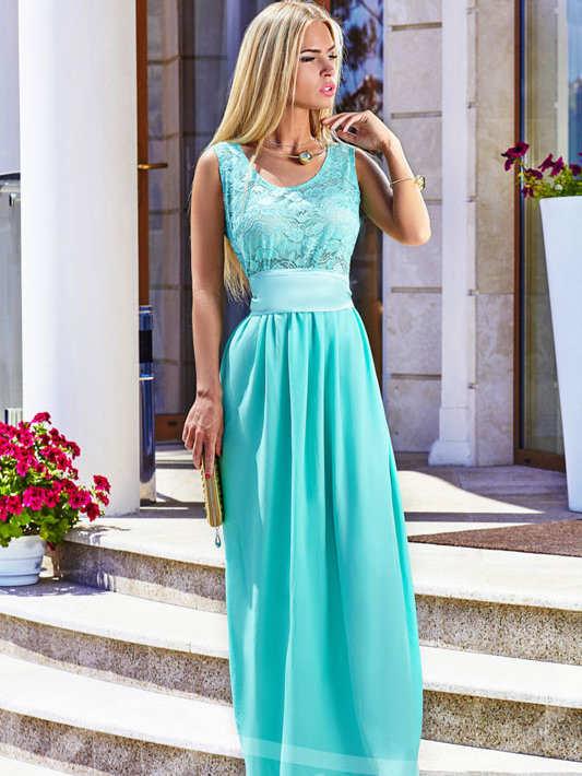 Длинное бирюзовое платье в пол